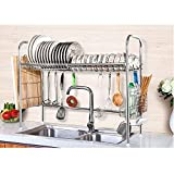 NEX Single Layer Stainless Steel Dish Rack with Cutting Board Holder, Utensil and Chopstick Holder, S-Hooks
