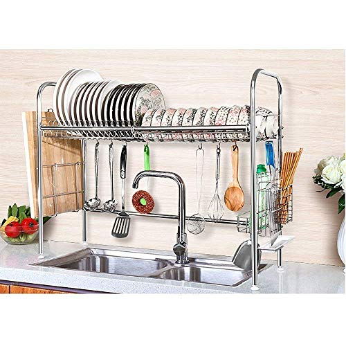 NEX Single Layer Stainless Steel Dish Rack with Cutting Board Holder, Utensil and Chopstick Holder, ()