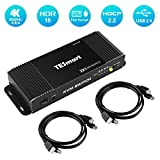 TESmart HDMI KVM Switch 2 Port 4K@60Hz Ultra HD 2x1 HDMI KVM Switcher with 2 Pcs 5ft KVM Cables Supports Mechanical and Multimedia Keyboard &Mouse USB 2.0 Devices Control up to 2 Computers/Servers/DVR