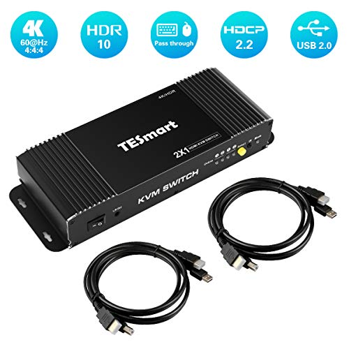 TESmart HDMI-KVM-Switch-2 Port 4K@60Hz Ultra HD 2×1 HDMI KVM Switcher with 2 Pcs 5ft KVM Cables Supports Mechanical and Multimedia Keyboard &Mouse USB 2.0 Devices Control up to 2 Computers/Servers/DVR