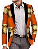 ainr Men's Classic Long-Sleeved Suit Blazers Printing Africa 2 XS