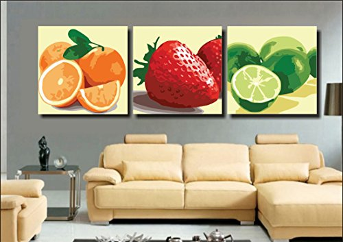 YEESAM Art New Paint by Numbers for Adults 3 Piece Pack Panel - Orange Various Colorful Fruit 16x16 inch Linen Canvas - DIY Painting Three Pieces Multipack Wall Art (with Frame) ()