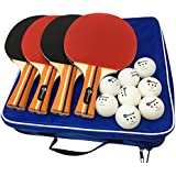 Pro Ping Pong Paddle Set - 4 Pack Premium Table Tennis Rackets, 8 Balls, Professional Game, Practice Training, Recreational Home Play, Accessories Bundle Portable Kit Travel Carrying Bag by JP WinLook