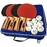 JP WinLook Ping Pong Paddle - 4 Pack Pro Premium Table Tennis Racket Set, 8 Professional Game Balls, Spin Rubber Bat, Training/Recreational Racquet Kit, Accessories Bundle, Portable Cover Case Bag