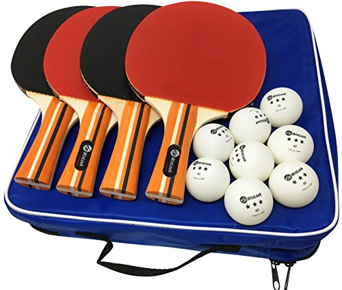 JP WinLook Ping Pong Paddle – 4 Pack; Pro Premium Table Tennis Racket Set; 8 Professional Game Balls; Rubber Spin Bat; Training Accessories Racquet Bundle Kit; Portable Cover Case; Indoor Outdoor