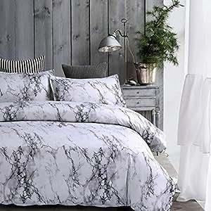 Amazon Com Amor Amp Amore White Marble Comforter Gray Grey