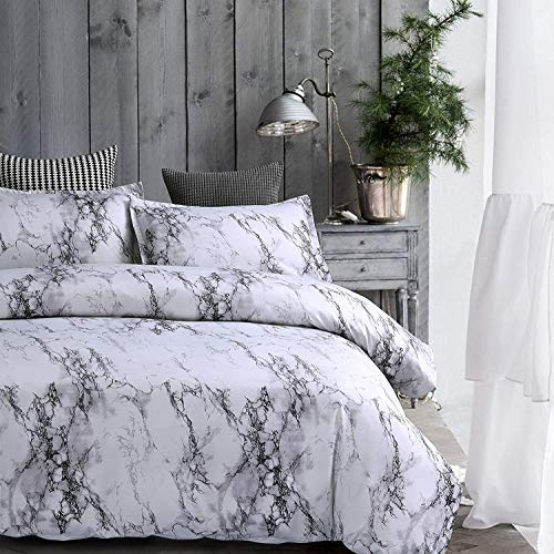 AMOR & AMORE White Marble Comforter Gray Grey and White Comforter Set, Super Soft Microfiber Bedding Marble Comforter Set Full/Queen (Microfiber, Full/Queen)