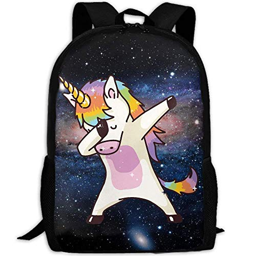 Hip Hop Unicorn Rainbow Unique Outdoor Shoulders Bag Fabric Backpack Multipurpose Daypacks For Adult by SHNUFHBD