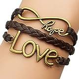 European Love 18cm Women's Brown Leather Wrap Bracelet(1 Pc)