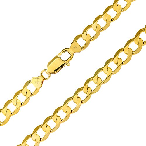 Revoni Bague en or jaune 9carats-90g-Collier Femme-Maille Gourmette, longueur 61cm/61cm, 7,3mm Largeur