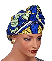 African Head Wrap Tribal Scarf Gele. Stylish Headgear Made Of Ankara Blue Fabric