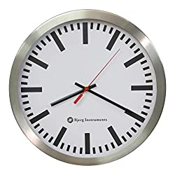Railway Modern 12 Stainless Silent Wall Clock White Face with Non Ticking Quiet and Accurate Movement - Bjerg Instruments