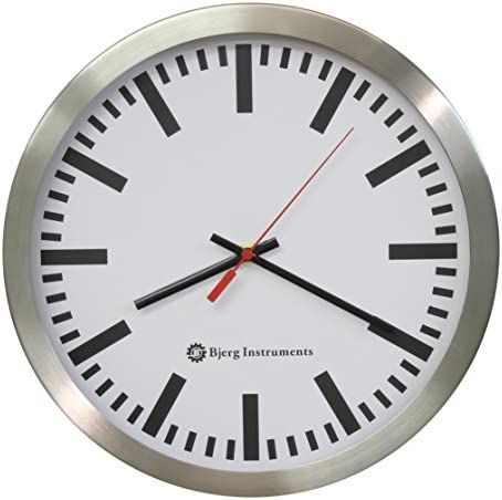 Bjerg Instruments Railway Modern 12 Stainless Silent Wall Clock White Face with Non Ticking Quiet and Accurate Movement
