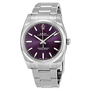 51y3OFEqC1L. SS300  - Rolex Oyster Perpetual Automatic Purple Grape Dial Stainless Steel Unisex Luxury Watch 114200RGSO