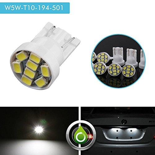 ,ZISTE Led W5W 194 Led Bulb 501 Xenon White 3020 SMD 6000K 8 LED Bulb for Side Indicator Light Parking Light Bulb Led Lights For Car Interior 10 Pcs (Indicator Led Plate)