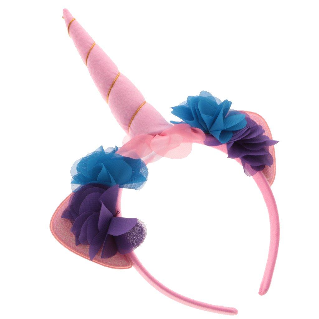 Diadema de unicornio Magideal unisex, divertida, con cuerno de unicornio y flor, para fiestas, disfraces, despedidas de soltera o soltero, Rosa, ...