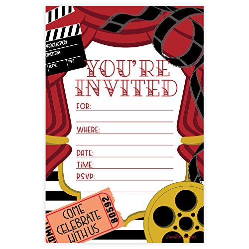 Movie Party Invitations - Fill In Style (20 Count) With Envelopes -