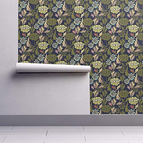 Removable Water-Activated Wallpaper - Vintage Floral Art Nouveau Flowers On Flowers Black Home Decor Vintage Wedding by Susan Polston - 24in x 96in Smooth Textured Water-Activated Wallpaper Roll