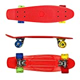 RockBirds 22 Inch Cruiser Skateboard Complete Plastic Banana Board with Bendable Deck and Smooth PU Casters for Kids Boys Youths Beginners, 220 Ibs