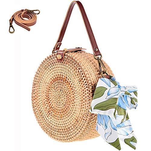 Bali Round Rattan Bag, Xmeng Handmade Round Bali Ata Straw Woven Circle Crossbody Handbag Adjustable strap for Women, Straw Bag, 208 ()