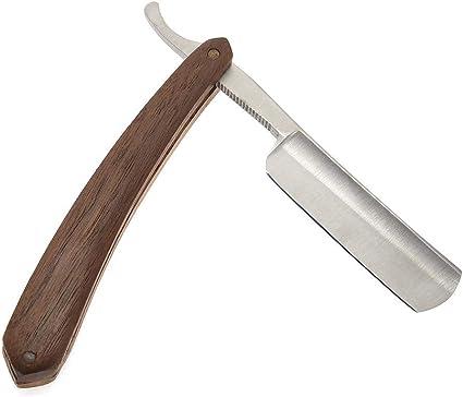 Maquinilla de afeitar recta: afeitadora de peluquero de grano de madera clásica de palisandro, maquinilla de afeitar de borde recto, cuchillo de afeitar plegable ...