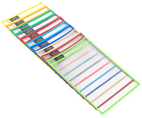Dry Erase Pockets - Reusable + Oversized - Size 10 X 13 Inches - 30 Pockets for Adults and Children - Mixed Colors - Ideal to use at School or at Work Photo #6