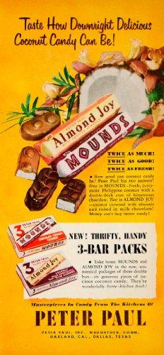 1951-ad-peter-paul-almond-joy-mounds-candy-3-bar-packs-chocolate-food-grocery-original-print-ad