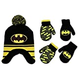 DC Comics Boys Batman Winter Hat 2 Pair Gloves or