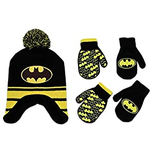 DC Comics Toddler Boys Batman Hat and 2 Pair Mittens Cold Weather Set, Age 2-4