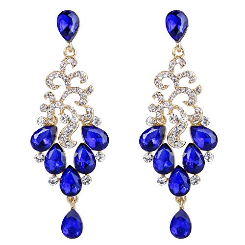 BriLove Women's Bohemian Cluster Crystal Beaded Wedding Bridal Teardrop Chandelier Dangle Earrings Royal Blue Sapphire Color Gold-Toned