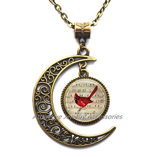 Cardinal Jewelry Cardinal Necklace Cardinal on Sheet Music,Red cardinal pendant Bird jewelry Gift for her Red cardinal art,QK006