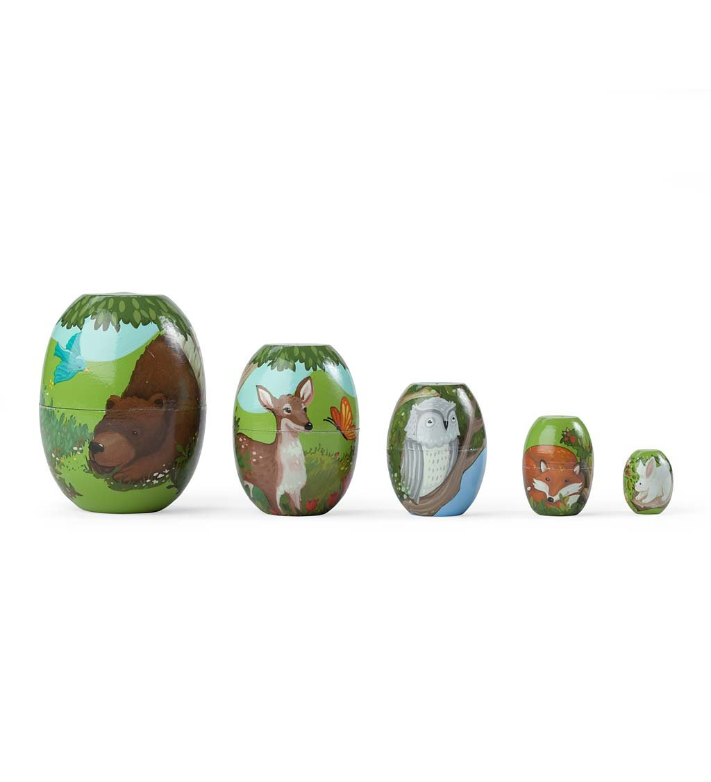 Children's Set of 5 Woodland Friends Stackable Wooden Nesting Eggs, 1''-3''H by HearthSong®