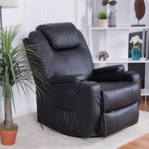 Giantex Massage Recliner Chair Electric Sofa Recliner Eorgonomic Lounge Heated PU Leather 360 Degree Swivel Living Room Massaging Reclining Chair w/Remote Control Cup Holder, Black