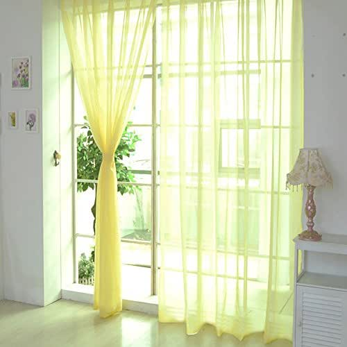 Funnygals - Voile Curtains White Sky Blue Ultra Sheer Voile Curtains Drapes for Living Room Bedroom (2 Panels)