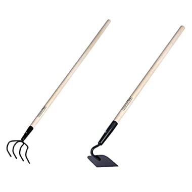 KYLIN 2 Pieces Garden Tools Set - Include Refuse Hook Cultivator and Forged Garden Hoe with 48  Hard Wood Handle, by GardenAll