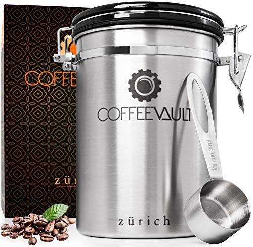 Zurich Coffee Container Airtight Storage - Coffee Canister with Scoop - Large Stainless Steel Coffee Storage Vault - Coffee Bean Container with CO2 Valve to Keep Beans Fresh - 1lb