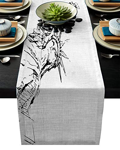 - Beauty Decor Independence Day 4th of July Table Runner Cotton Linen 18x72inch for Party Wedding Decorations Dining Outdoor Picnics Table Runners Famous Monuments Statue of Liberty