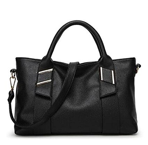 women genuine leather famous brand Tote bags(black) - 2