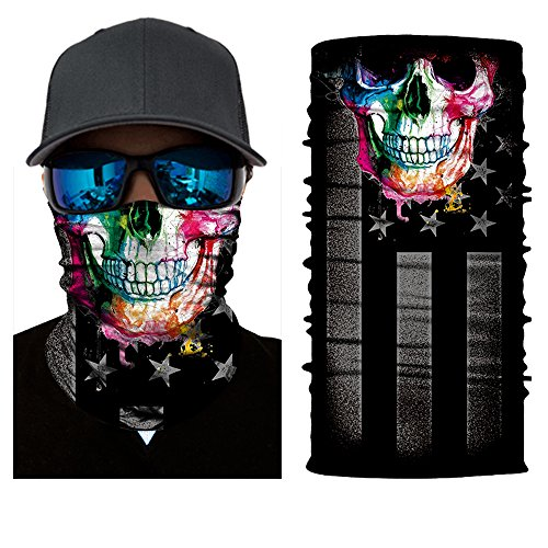 [12-in-1 Magic Scarf,Skeleton Skull Flag Seamless Bandana, Face Mask,fishing mask, Thin Ski Mask, Neck Warmer Balaclava Bandana for Raves, Dust, Riding Bike, Motorcycle, Outdoor Activities (rainbow)] (Night Wind Costume)