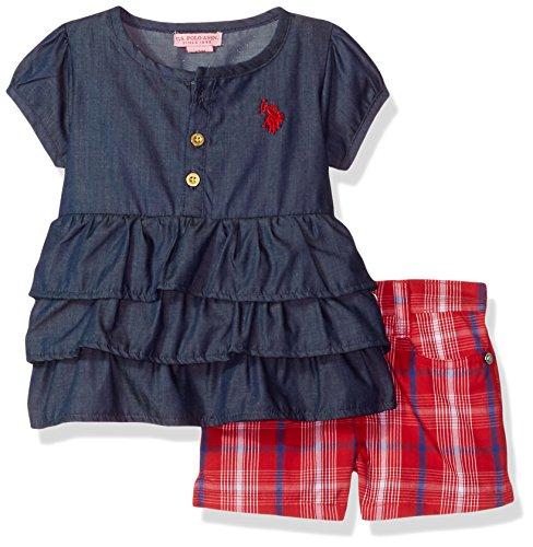 U.S. Polo Assn. Baby Girls Fashion Top and Short Set, Ruffle Teirs/Bright Plaid Dark wash, 12M