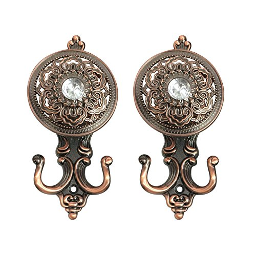 Holdbacks Hardware (KISENG 1 Pair Clear Crystal Curtain Holdbacks Wall Mounted Tassel Curtain Tieback Hook Multi Use Wall Hook Coat Hanger (G Copper))