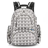 CoolBELL Baby Diaper Bag Backpack with Insulated Pockets/L-Size Water-Resistant Baby Bag/Multi-Functional Travel Knapsack Include Changing Pad for Travel (Grey Arrow)