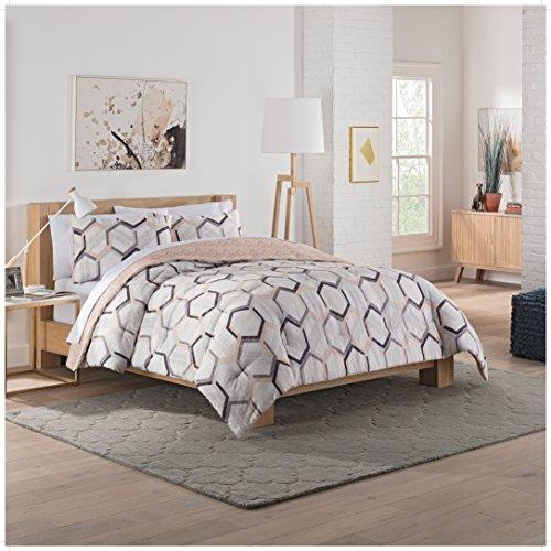 Vue Hexagonal Comforter Set, Queen, Grey
