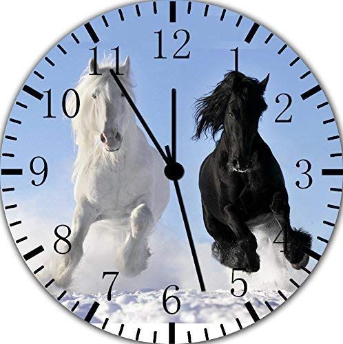 hiusan Beautiful Black Horse White Horse Wood Wall Clocks Silent Non Ticking Decorative for Living Room Bedrooms Office 12 Inch for Gifts ()
