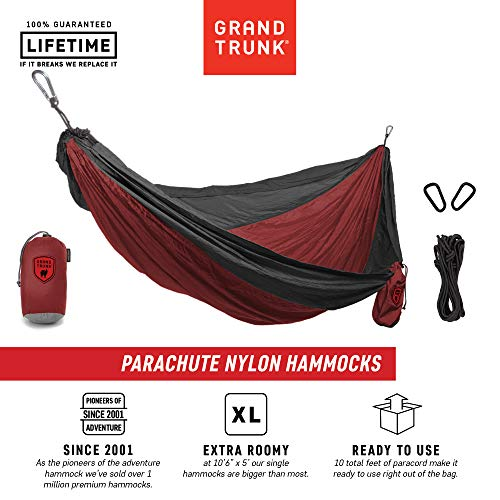 Grand Trunk Hammock- Camping Double with Tree Hanging Kit- Hammocks and Travel Gear Pioneers Since 2001 Parachute Nylon, Portable, Indoor Outdoor, Backpacking, Survival, Charcoal/Crimson
