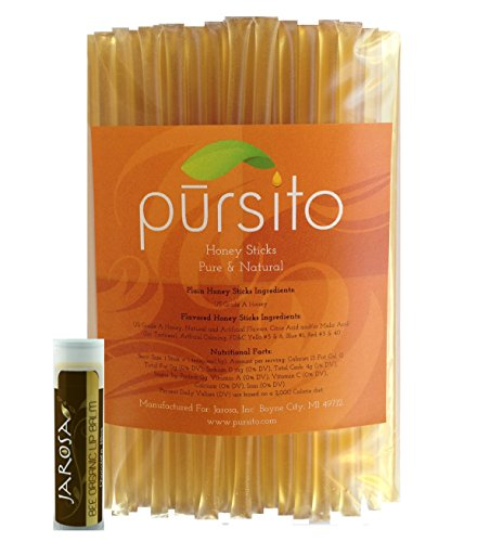 Natural Honey Sticks - Lemon - Set of 100 Pursito Brand Pure & Natural Bulk Honey Stix or Honey Straws Honey Stick for Tea, Coffee or Snacking with a Jarosa Organic Beeswax Chocolate Lip Balm