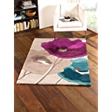 Large Quality Contemporary Flower Design Teal Purple Area Rug in 120 x 170 cm (4' x 5'6'') Carpet by Lord of Rugs