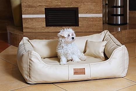 Articulos ortopedicos Cama para perro Maddox ORTO VISCO de tierlando en Terciopelo de arte cuero Sofá para perro Cuna para perro Talla M 80 cm COLOR CREMA: ...