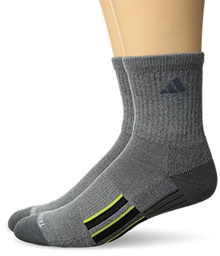 - adidas Men's Climalite X II Mid Crew Socks (2-Pack), Onix Light Onix Marl/Onix/Black/Shock Slime, Large