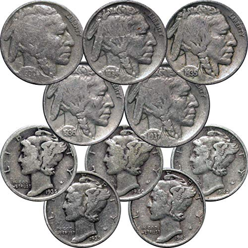 1930-1945 Lot of 5 Mercury Dimes and 5 Buffalo Nickels, 10 Different Dates, Circulated Circulated